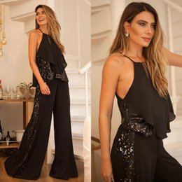 sequined mother bride evening dresses NZ - Two Pieces Women Pant Suit Party Gowns 2020 Black Sequined Chiffon Long Prom Dresses Young Mother Bride Evening Dress