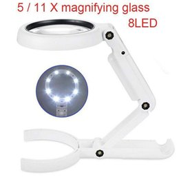 Wholesale 5 X Magnifying Glass Dual Use Table Lamp Super Bright Stand Non Slip Repair Hand Held LED Simple Authenticate Jewelry Home