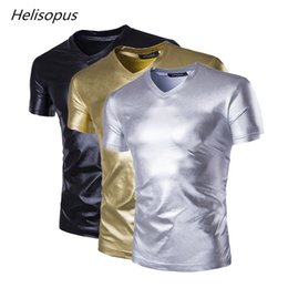 892d4398 wholesale Punk style Men's Metallic Shiny T-Shirt Top Club Wear V Neck  Fancy Dress Pullover Slim fit PVC Leather t shirt