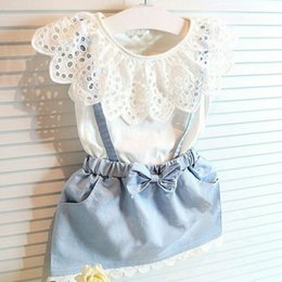 Girls Denim Bow Shirt Australia - Toddler Kids Baby Girls Summer Outfits Clothes T-shirt Tops+Denim Dress 2PCS Set