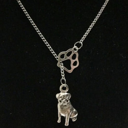 infinity symbol pendant wholesale NZ - Hot Fashion Vintage Silver Infinity Symbol Connections Cat   Dog Paw & Bull Dog Pug Dog Charms Pendant Necklace - 48