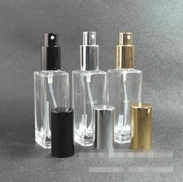 Pumped Glasses Australia - 30ML Empty Clear Glass Perfume Spray Bottle 1Oz Refillable Square Atomizer with Black Gold Black Pump Cap