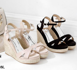 $enCountryForm.capitalKeyWord Canada - lovely beige black straw woven cross strappy wedge sandals synthetic suede designer luxury women slides size 34 To 40