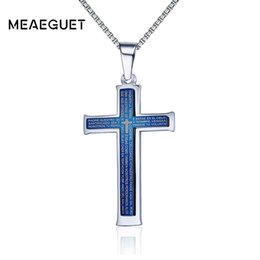 Men Pendant Coin Australia - ross pendant necklace Meaeguet Vintage Blue Layered Catholic Cross Pendant Necklace Men 316L Stainless Steel Jesus Bible Words Necklaces ...