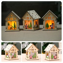 model house lighting Australia - Christmas LED Light Medium size Wood House 3 styles christmas trees decorations Hanging Ornaments Xmas Holiday Nice gift DHL JY436
