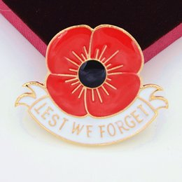 Wholesale 36PCS quot Lest We Forget quot Enamel Red Poppy Brooch Pin Badge Golden Flower British World War II Remembrance Day Gift