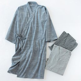 black cotton bathrobe UK - Traditional Solid Color Men Pure Cotton Bathrobe Summer Japanese Kimono Home Clothes Loose Cardigan Yukata Kimonos Loose Caot
