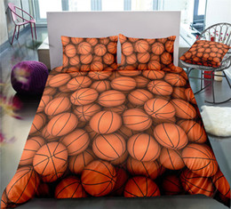 orange bedding sets double Australia - 3D Basketball Printed Bedding Set King Size 3D Duvet Cover Simple Queen Home Dec Single Double Bed Cover with Pillowcase