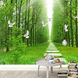 Discount fresh weave - Custom Mural Wallpaper Fresh Forest Path Dove Landscape Non-woven Living Room Backgrounds Decorate Green 3D Wallpaper Fr