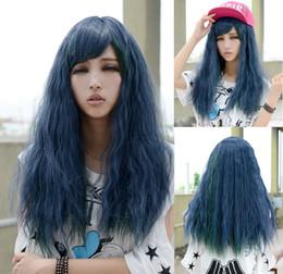 $enCountryForm.capitalKeyWord NZ - Sexy wavy Long wigs for women Cosplay Cool Blue Lady Curly hair girl Full wig Girl Perruque Peruca Miss hair Ladys WIGS