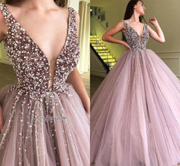 ec38e7988a8 Discount dusty blue tulle dress - 2019 New Plunging V Neck Beaded Crystals Prom  Dresses Dusty