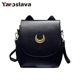 sailor moon fashion Australia - New Sailor Moon Black Pu Leather Backpack Women Shoulder Rucksack 2019 School Bags For Teenage Girls Brand Sac A Dos Femme Ll34 Y19051405