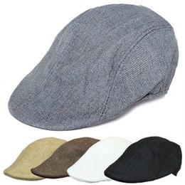 6dfdaa09 Men's Vintage Beret Solid Color Breathable Fashion Sun Hat Forward Cap  Outdoor Golf Flat Top Hat