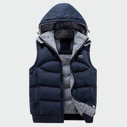 Cotton Windbreakers Australia - Fashion Sleeveless Jacket Mens Thickening Cotton Vest Hat Hooded Warm Vest Winter Male Waistcoats Men Casual Windbreakers Ml049