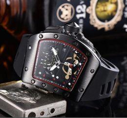 Skull Skeleton glaSSeS online shopping - Luxury Watch dial inlaid drill Mens Quartz Watches Luxury Skull sport Watches Men Sports Fashion Skeleton quartz Watches