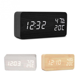 wholesale wooden calendars NZ - Wooden LED Alarm Clock with Old Style Temperature Sounds Control Calendar LED Display Electronic Desktop Digital Table Clocks free shipping