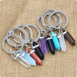 bulk keychains Australia - Bulk Natural stone Keychains Hexagonal prism Bullet Quartz Point Healing Crystals Chakra key chains DIY Jewelry Accessories
