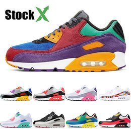 orange tennis shoes women Australia - Wholesale 2020 Cheap 90s Cushions Running Shoes Hot New Bred Orange Blue Mens Triple White Laser Pink Sport Women OFF Designer Sneakers