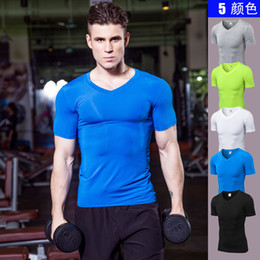 T Shirt Male Body Australia - Fashion Men's Short Sleeves T-shirts V Neck Tight Skin Compression Shirts For Men Fitness Gyms Clothing Male Body Building Tops