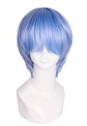 Light bLue cospLay wig short online shopping - EVA Evangelion Ayanami Rei Light Blue Short Straight Cosplay Full Wig CW183