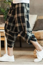 Seven Point Pants Australia - Radish pants men and women loose large size fat seven points Harlan feet nine points plaid pants summer thin section