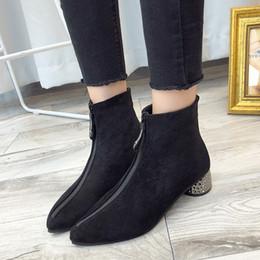 $enCountryForm.capitalKeyWord NZ - Dress Shoes Tangnest High Square Heel Women Pumps Flock Elegant Pointed Toe Concise Women Formal Fashion Spring Zip Pumps Xwd7271