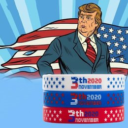 birthday wristbands UK - Trump Silicone Bracelet Trump US Election Pattern Wristband Fashion Trump Silicone Bracelet Sports Wrist Strap Party Favor CCA12399 300pcs