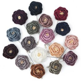Men flower brooches online shopping - Retail Piece High Quality Fabric Flower Rose Brooch Lapel Pin Men Classic Wedding Boutonniere Solid Colors