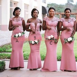 09029674cb23e Sexy Mermaid Lace Bridesmaid Dresses Satin African Juniors Maid Of Honor Dress  Wedding Guest Wear Evening Formal Plus Size Party Gowns Prom