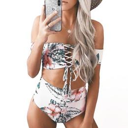$enCountryForm.capitalKeyWord Canada - Floral Swimsuit Women Bandeau Bikinis Swimwear Off Shoulder Crop Top Lace Up Swimsuit High Waist Bikini Set Bathing Suit