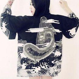 $enCountryForm.capitalKeyWord Australia - Harajuku Japanese Style Blouse Waves And Wind Dragon Shirts Japanese Kimono Print Chiffon Cardigan good quality
