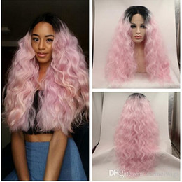 Lace Front Synthetic Wigs Price Australia - Wholesales Price Ombre Afro Kinky Curly Synthetic Lace Front Ombre Black to Light Pink Heat Resistant Hair Wigs Loose Curly Lace Front Wig