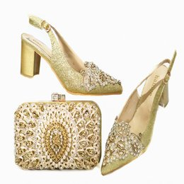 rhinestone pumps for wedding NZ - Rhinestone Wedding Party Shoes Nigerian Party Pumps Italian Shoes with Matching Bags for Wedding Italy Shoes and Bag Italy Set