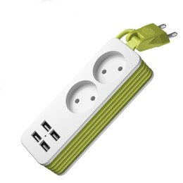 $enCountryForm.capitalKeyWord Australia - EU Plug Power Strip 2 AC Plug Travel Adapter 1200W Multiple Portable 4 USB Port Charger Socket 1.5m for Smartphones Tablets
