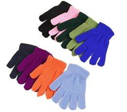 Finger Mitten Gloves UK - Children Winter Magic Gloves Boys Girls Kintting Acrylic Warm Glove Solid Color Finger Point Stretch Mittens Cute Bulk Pack Gloves 5-13T
