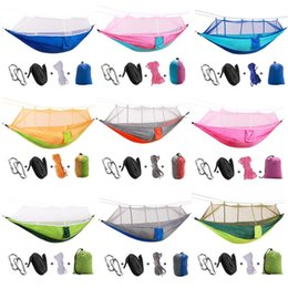 one chairs Australia - Outdoor Portable Double Backyard Swing Chair Bed Kit Camp Hunting Hammock with Mosquito Net Parachute Cloth Hanging Bed