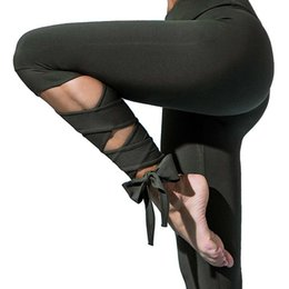 21073de21534ac New Arrival Black Bandage Cross Leggings Women High Waist Fashion Sporting  Ballet Yoga Pants Fitness Gymming Lady Capris Legging