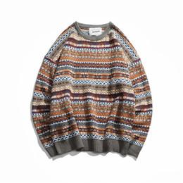 $enCountryForm.capitalKeyWord Australia - Zogaa Folk-custom Sweaters Men 2019 Autumn Mens Pullovers Round Neck Vintage Sweaters Striped Patchwork Quality Knitted