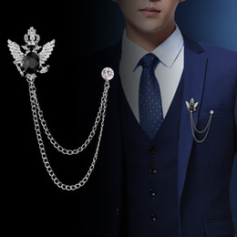 lapel brooch chain UK - Retro Shirt Suit Tassel Bird Wing Brooch Fringed Chain Double Hawk Head Lapel Pins and Brooches Badge Gifts for Men Accosseries