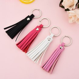 $enCountryForm.capitalKeyWord Australia - Simle PU Leather Tassel Keychain Fringe Long tassel Pendant Keychain for Women Car Phone Hanging Bag Amall Gift