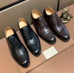 mens black lace up oxfords NZ - 2020 New Luxury Men Oxfords Business Shoes Black Brown Genuine Leather Lace Up Flats Shoes Classic Mens Loafers Wedding Shoes for Men 38-44