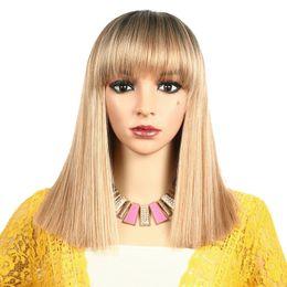 $enCountryForm.capitalKeyWord Australia - Medium Synthetic Wig With Bang Ombre Blonde Natural Hair Wigs Women Cosplay