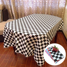 table cloths disposable NZ - Disposable Tablecloth Racing Flags Black And White Grid Thicken Plastic Table Cover Outdoor Picnic Camping Supplies Party Table Cloth