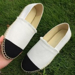 $enCountryForm.capitalKeyWord NZ - New Fashion Canvas and Real Lambskin women Espadrilles Flat Shoes Summer Loafers Espadrilles Size EUR34-42 Many Colors with Box