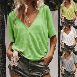 $enCountryForm.capitalKeyWord Australia - Black Women T Shirt V Neck Short Sleeve Plain Casual T-shirt Top for Women Black Fashion Casual Woman V Neck Designer Women T Shirt