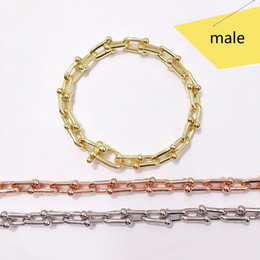 Hot Sale Gold 18k Australia - Hot sale 316L titanium steel jewelry T letter U word love bracelet chain 18K gold love party men and women bracelet