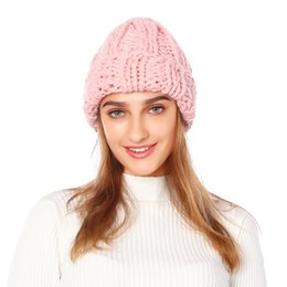 black knit hat brim Canada - 2019 New Women Knitted Thicken Warm Cap Winter Hats For Women Beanies Pink Gray Hat Female Outdoor Black Soft Gorros Cap Y200102