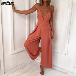 Orange Jumpsuits For Women Australia - Aproms Solid Cut Out Jumpsuit Women Sexy V Neck Low Back Rompers Cool Girls Streetwear Jumpsuits Overalls For Women's Clothing Y19051501