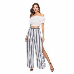 Legging Styles For Women UK - Summer New Solid Style Black Loose High Waist Crop Casual Pants Women Chiffon Split Wide-leg Pants For Women