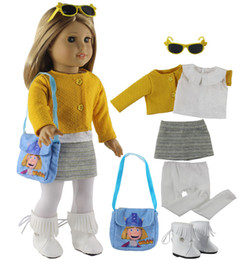 01f4d40c9cf9 New 7 PCS Doll Clothes+1 Pairs Boots+1 Bag+1 Tights+1 Pairs Glasses for 18  Inch American Girl Bitty Baby Doll X108